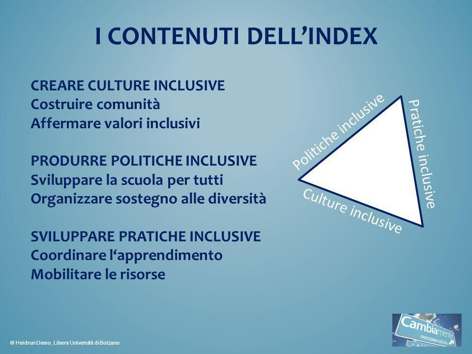 I CONTENUTI DELL'INDEX