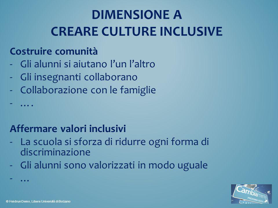 DIMENSIONE A CREARE CULTURE INCLUSIVE
