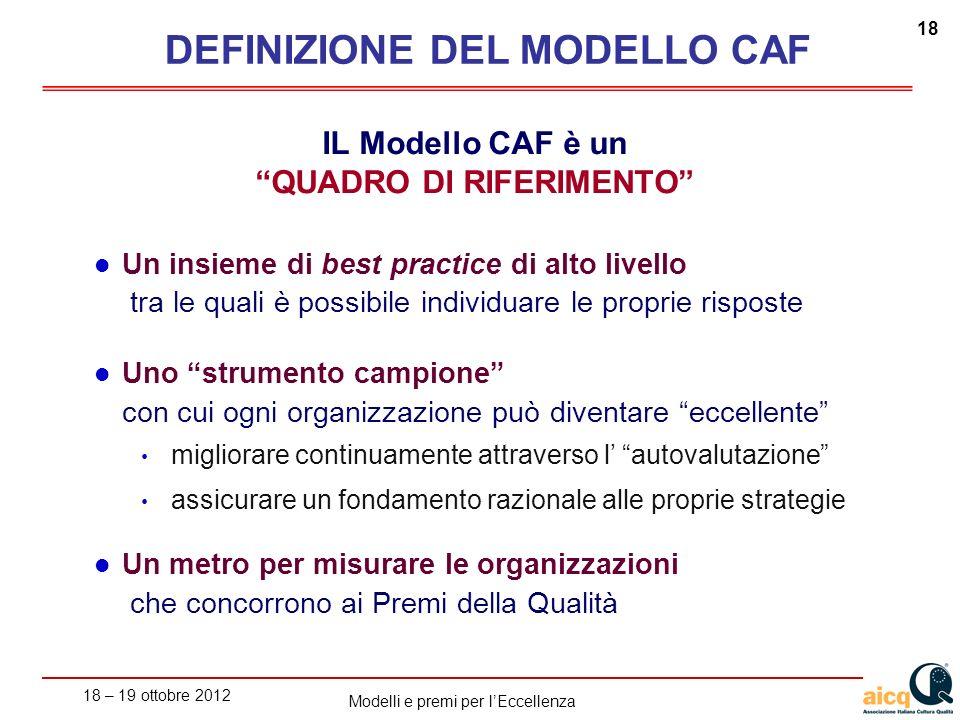 DEFINIZIONE DEL MODELLO CAF QUADRO DI RIFERIMENTO