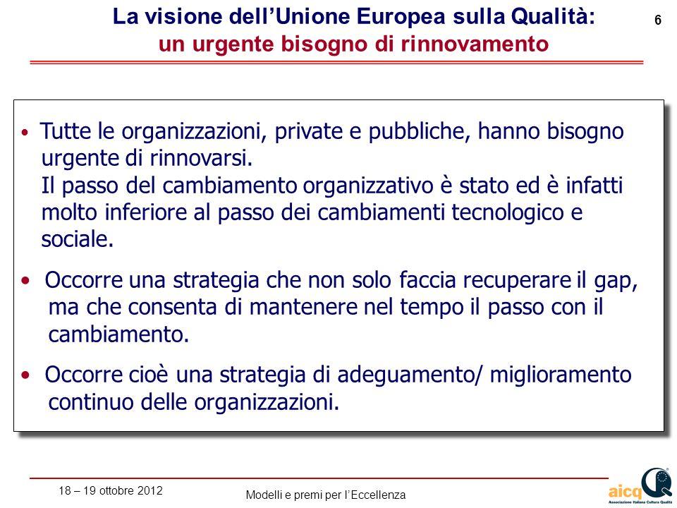 La visione dell'Unione Europea sulla Qualità: