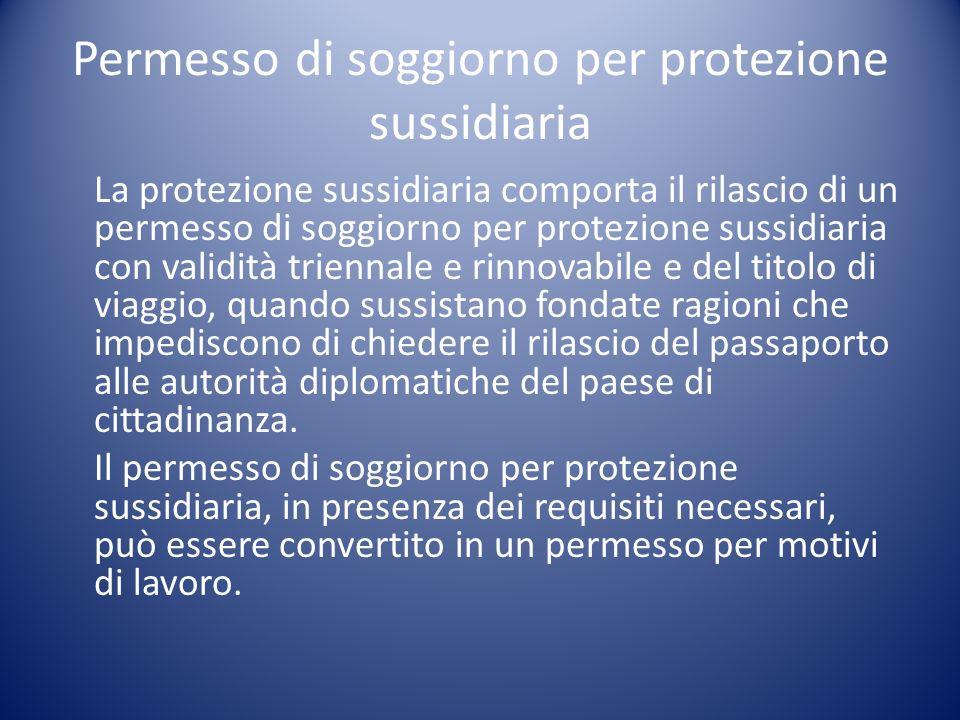 Permesso di soggiorno per protezione sussidiaria