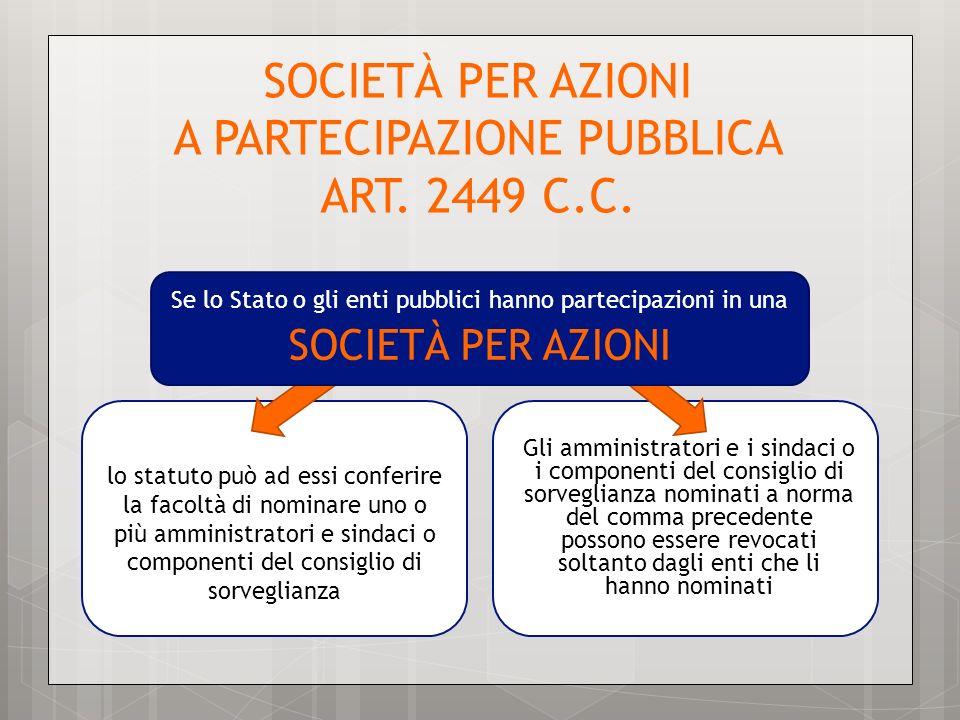 SOCIETÀ PER AZIONI A PARTECIPAZIONE PUBBLICA ART. 2449 C.C.