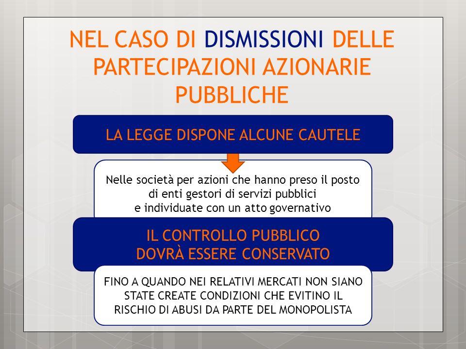 NEL CASO DI DISMISSIONI DELLE PARTECIPAZIONI AZIONARIE PUBBLICHE