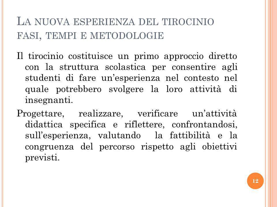 La nuova esperienza del tirocinio fasi, tempi e metodologie