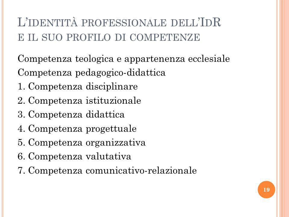 L'identità professionale dell'IdR e il suo profilo di competenze