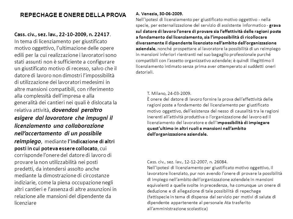 REPECHAGE E ONERE DELLA PROVA