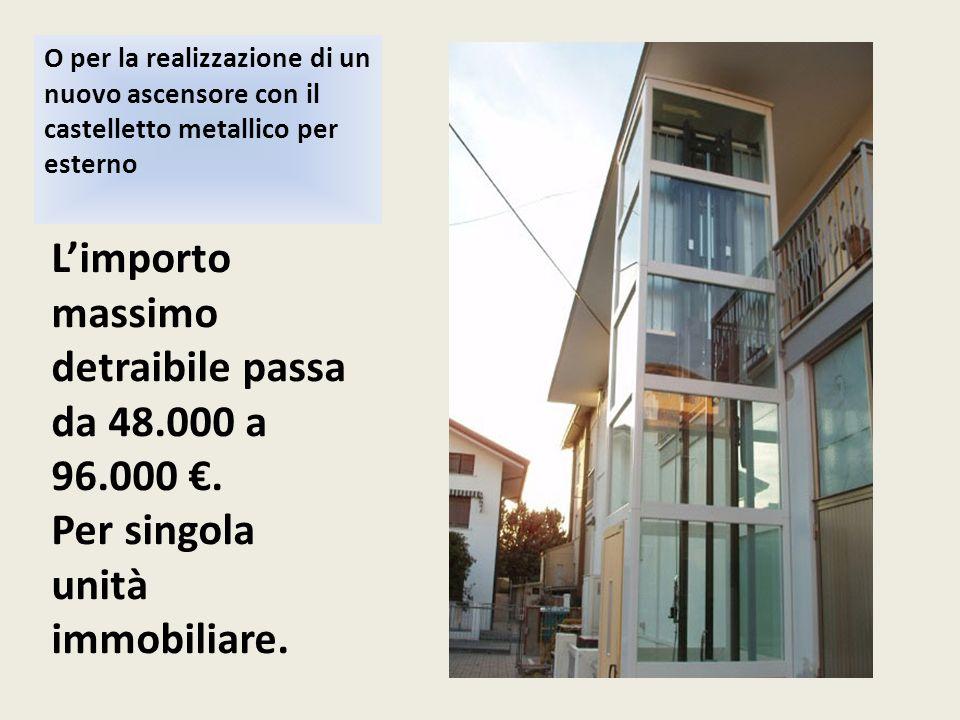 O per la realizzazione di un nuovo ascensore con il castelletto metallico per esterno