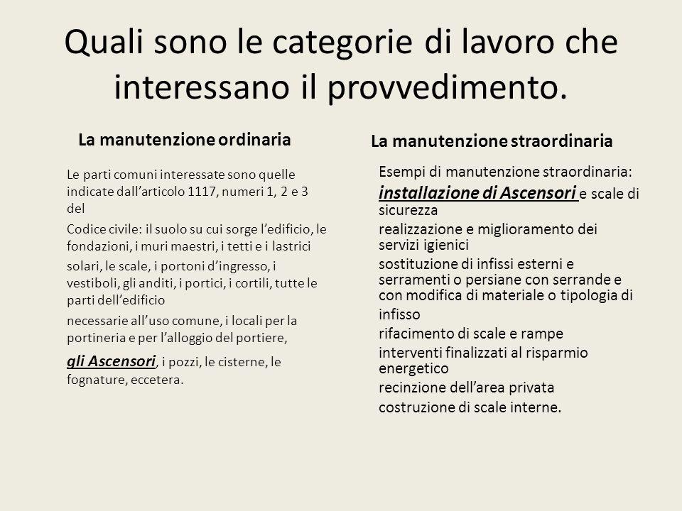 Quali sono le categorie di lavoro che interessano il provvedimento.
