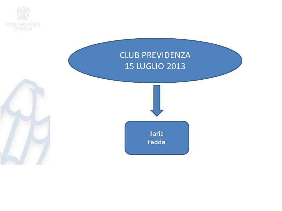 CLUB PREVIDENZA 15 LUGLIO 2013 Ilaria Fadda