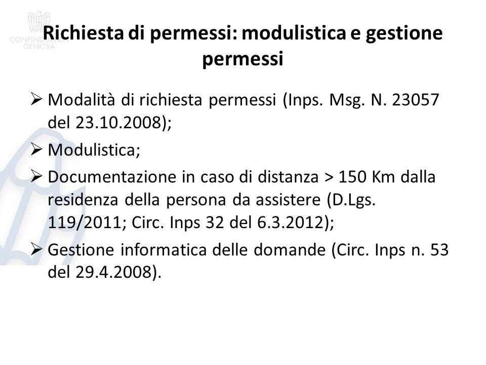 Richiesta di permessi: modulistica e gestione permessi