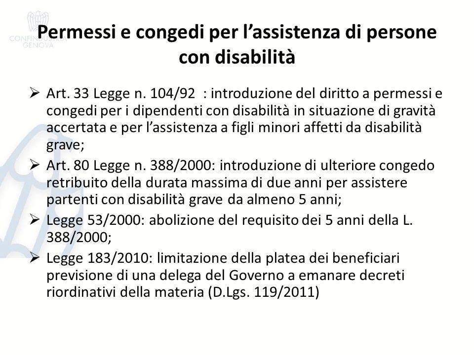 Permessi e congedi per l'assistenza di persone con disabilità