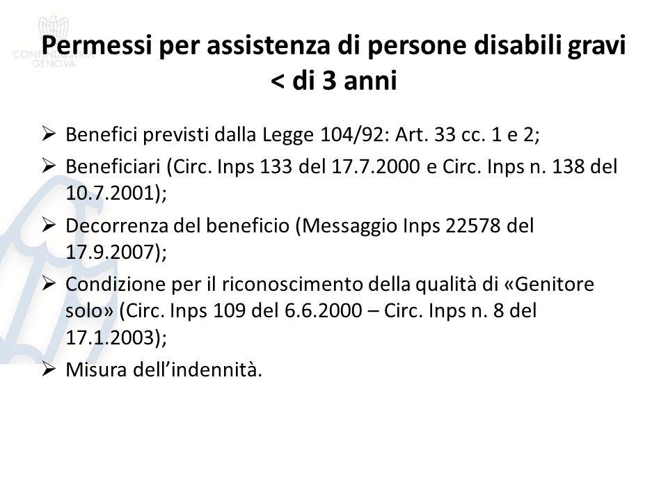 Permessi per assistenza di persone disabili gravi < di 3 anni