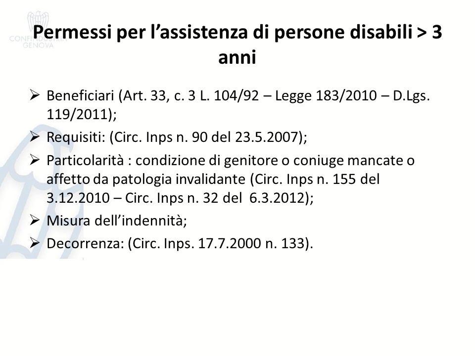 Permessi per l'assistenza di persone disabili > 3 anni