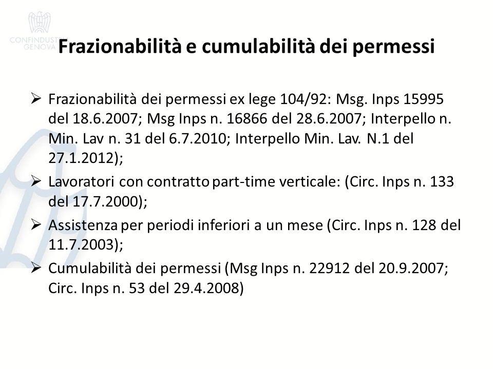 Frazionabilità e cumulabilità dei permessi