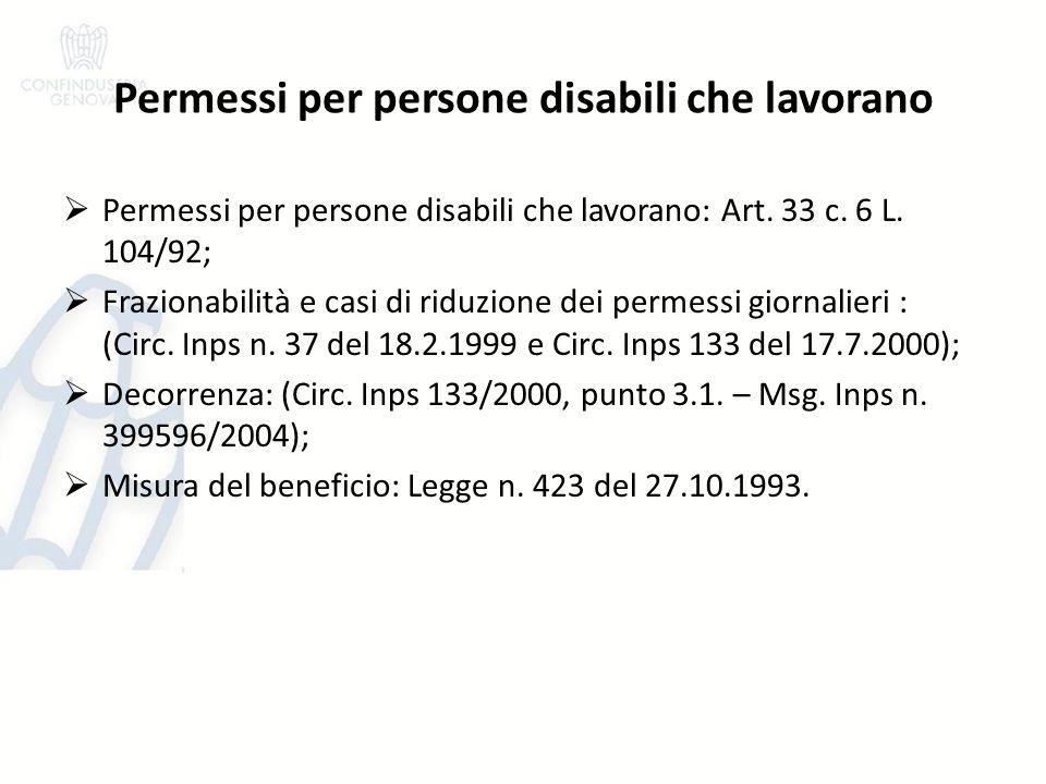 Permessi per persone disabili che lavorano