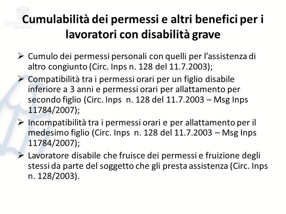 Cumulabilità dei permessi e altri benefici per i lavoratori con disabilità grave