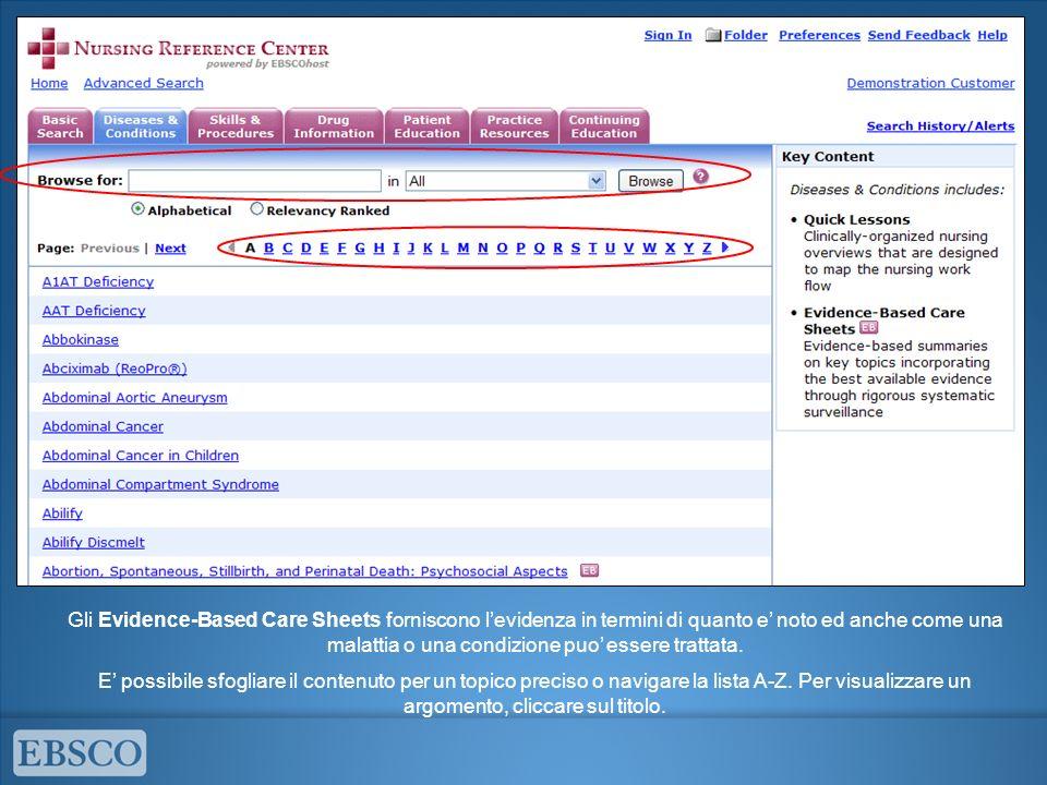 Gli Evidence-Based Care Sheets forniscono l'evidenza in termini di quanto e' noto ed anche come una malattia o una condizione puo' essere trattata.