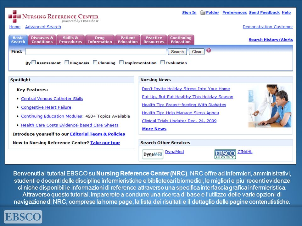 Benvenuti al tutorial EBSCO su Nursing Reference Center (NRC)