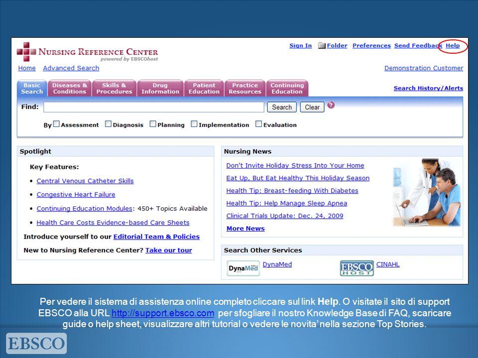 Per vedere il sistema di assistenza online completo cliccare sul link Help.