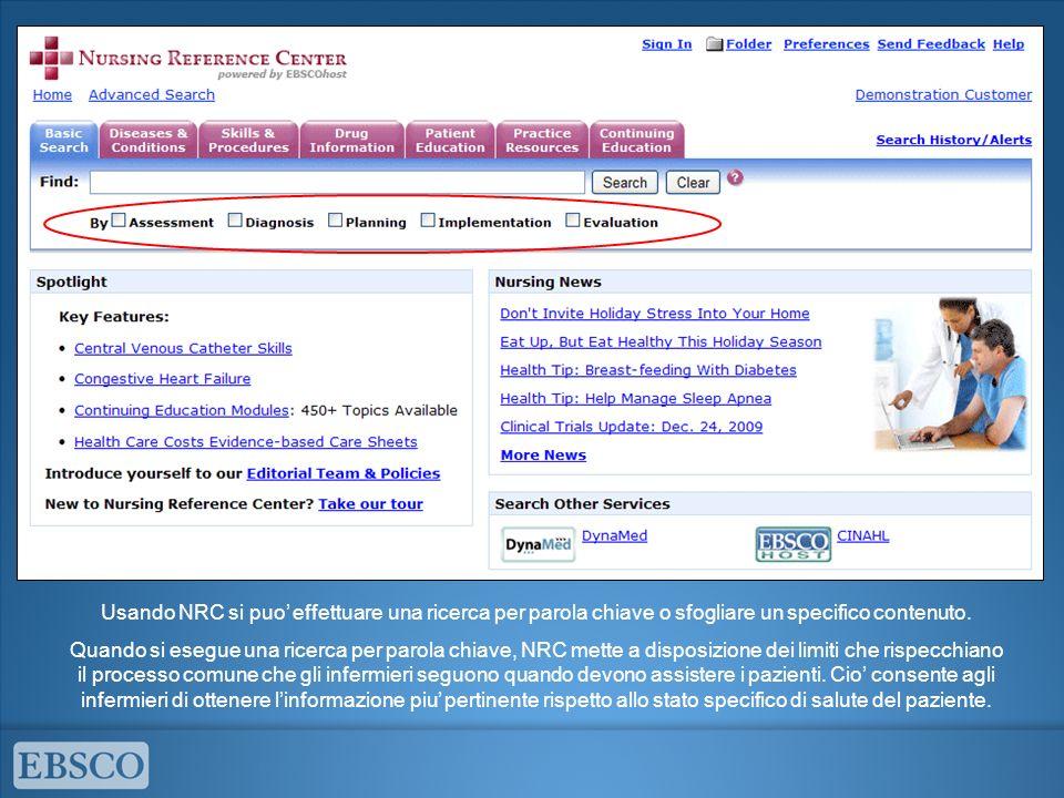 Usando NRC si puo' effettuare una ricerca per parola chiave o sfogliare un specifico contenuto.