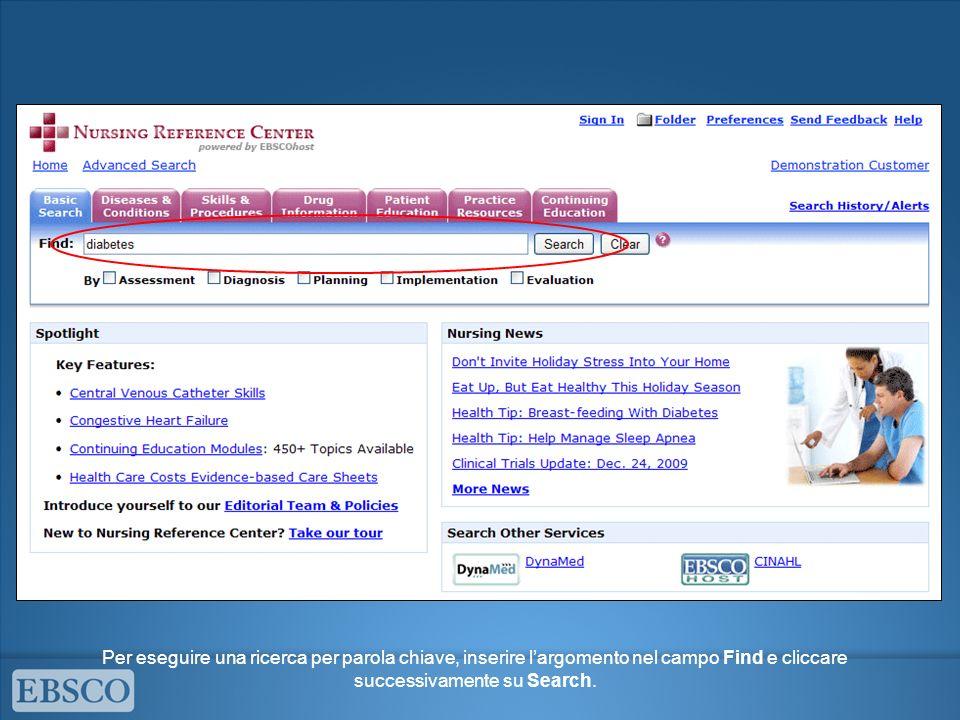 Per eseguire una ricerca per parola chiave, inserire l'argomento nel campo Find e cliccare successivamente su Search.