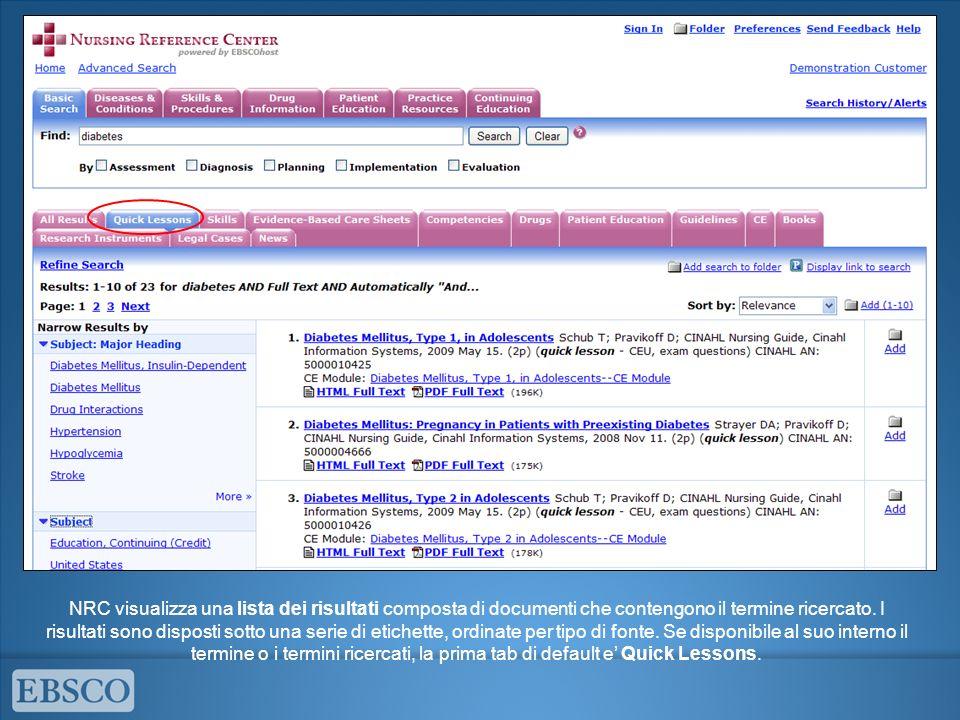 NRC visualizza una lista dei risultati composta di documenti che contengono il termine ricercato.
