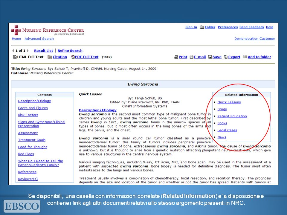 Se disponibili, una casella con informazioni correlate (Related Information) e' a disposizione e contiene i link agli altri documenti relativi allo stesso argomento presenti in NRC.