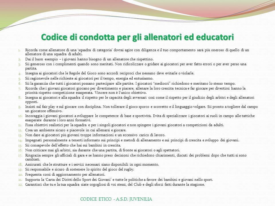 Codice di condotta per gli allenatori ed educatori
