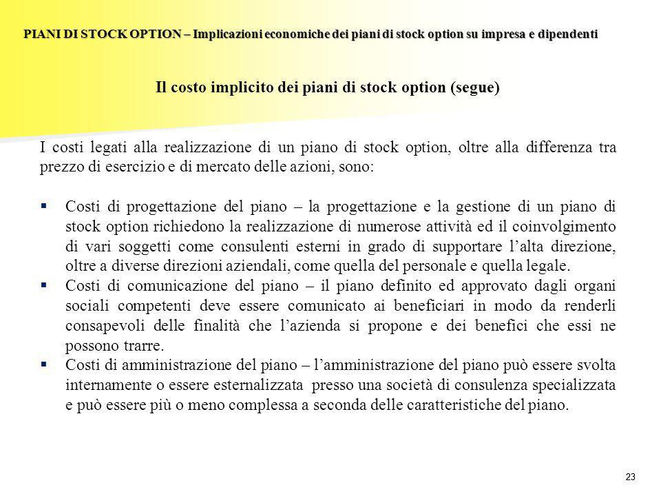 Il costo implicito dei piani di stock option (segue)