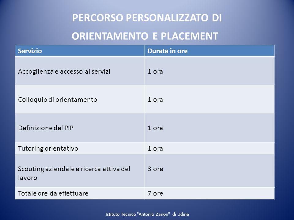 PERCORSO PERSONALIZZATO DI ORIENTAMENTO E PLACEMENT