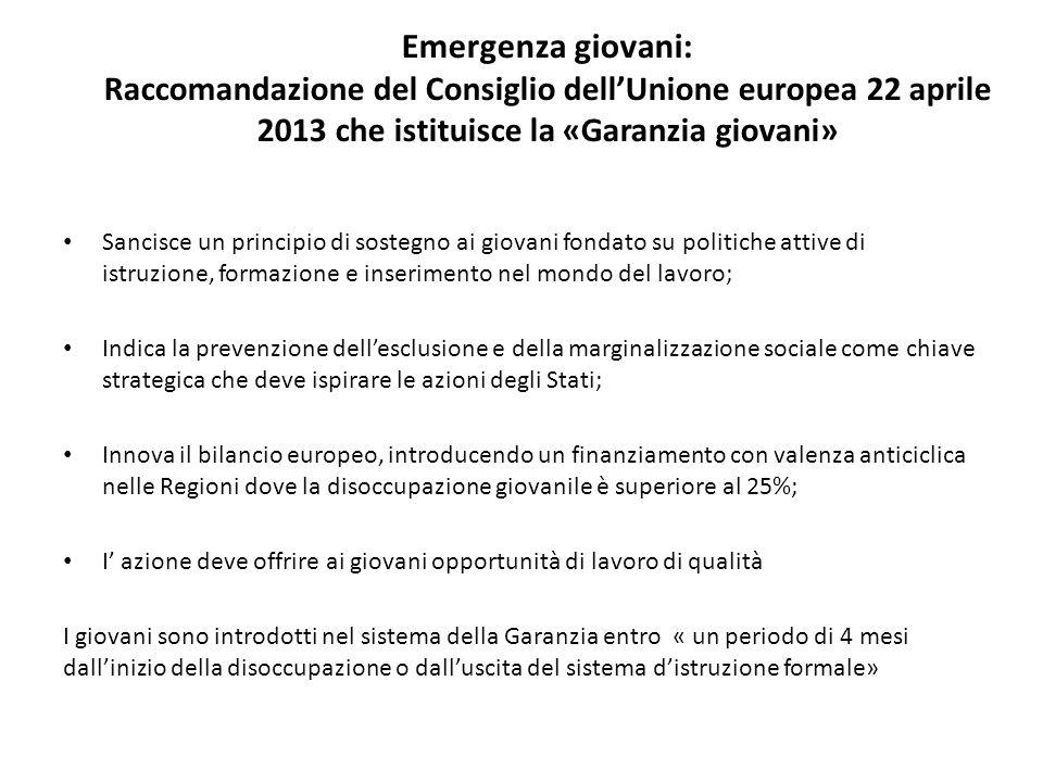 Emergenza giovani: Raccomandazione del Consiglio dell'Unione europea 22 aprile 2013 che istituisce la «Garanzia giovani»