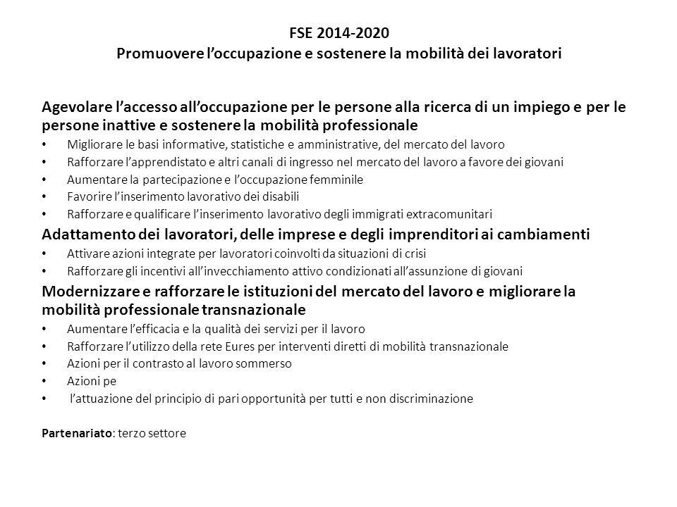 FSE 2014-2020 Promuovere l'occupazione e sostenere la mobilità dei lavoratori