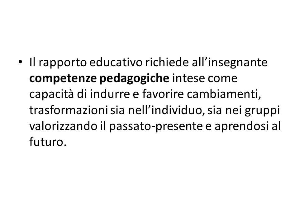 Il rapporto educativo richiede all'insegnante competenze pedagogiche intese come capacità di indurre e favorire cambiamenti, trasformazioni sia nell'individuo, sia nei gruppi valorizzando il passato-presente e aprendosi al futuro.