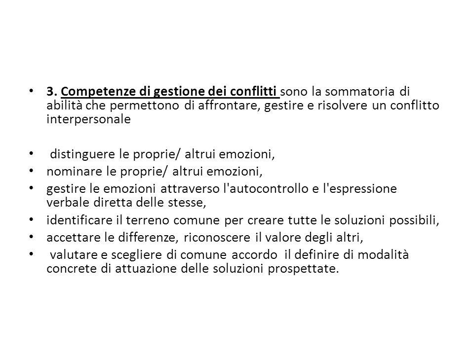 3. Competenze di gestione dei conflitti sono la sommatoria di abilità che permettono di affrontare, gestire e risolvere un conflitto interpersonale