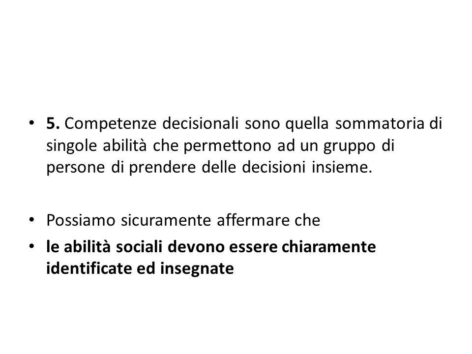 5. Competenze decisionali sono quella sommatoria di singole abilità che permettono ad un gruppo di persone di prendere delle decisioni insieme.