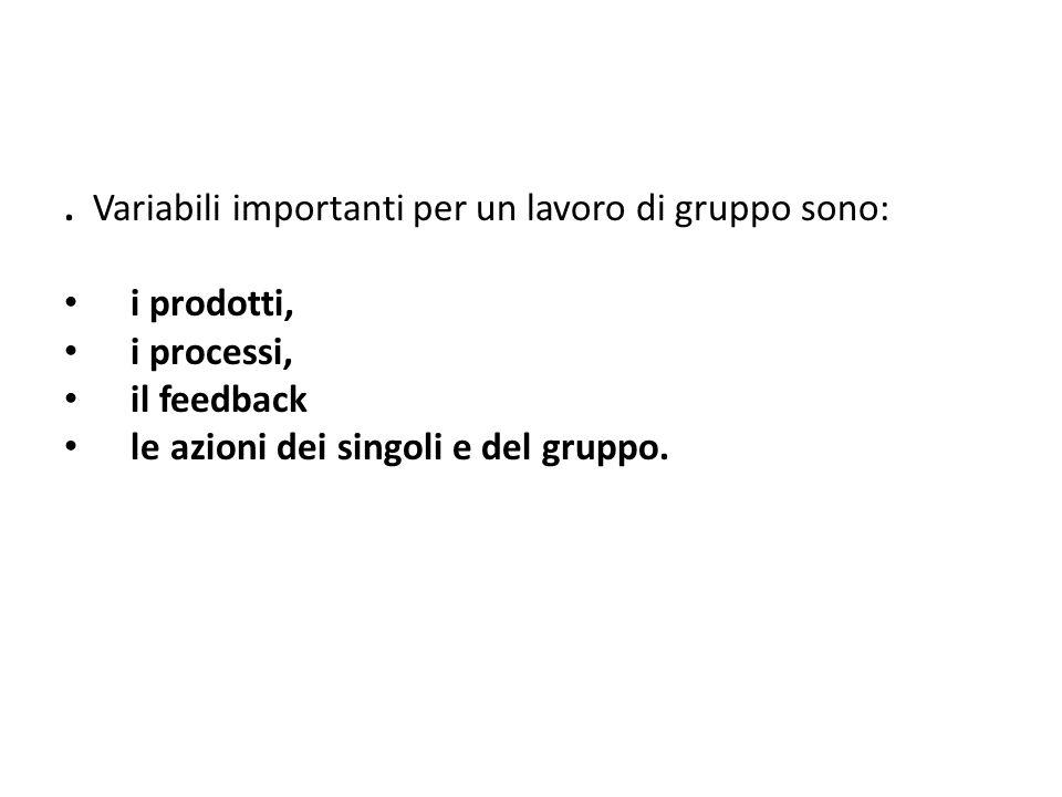 . Variabili importanti per un lavoro di gruppo sono: