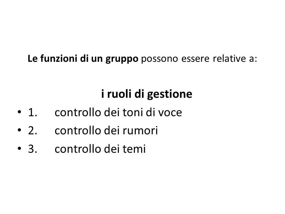 Le funzioni di un gruppo possono essere relative a: