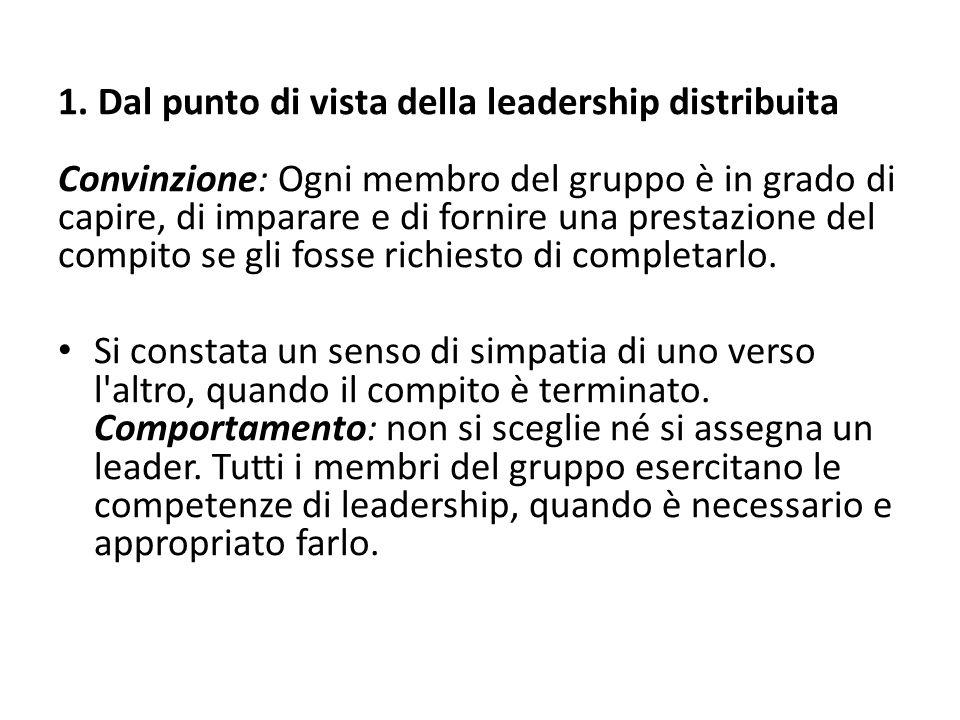 1. Dal punto di vista della leadership distribuita Convinzione: Ogni membro del gruppo è in grado di capire, di imparare e di fornire una prestazione del compito se gli fosse richiesto di completarlo.