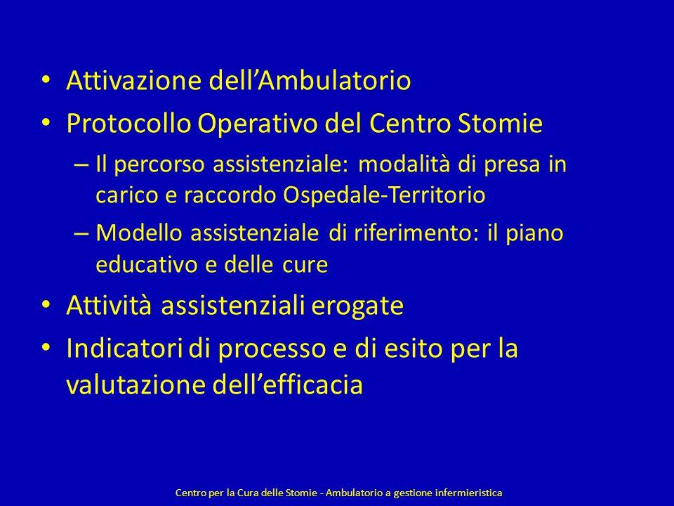 Attivazione dell'Ambulatorio Protocollo Operativo del Centro Stomie