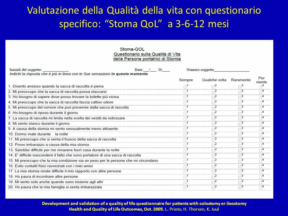 Valutazione della Qualità della vita con questionario specifico: Stoma QoL a 3-6-12 mesi