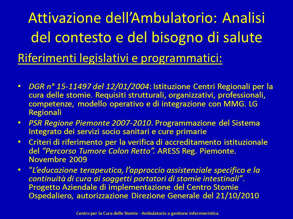 Attivazione dell'Ambulatorio: Analisi del contesto e del bisogno di salute