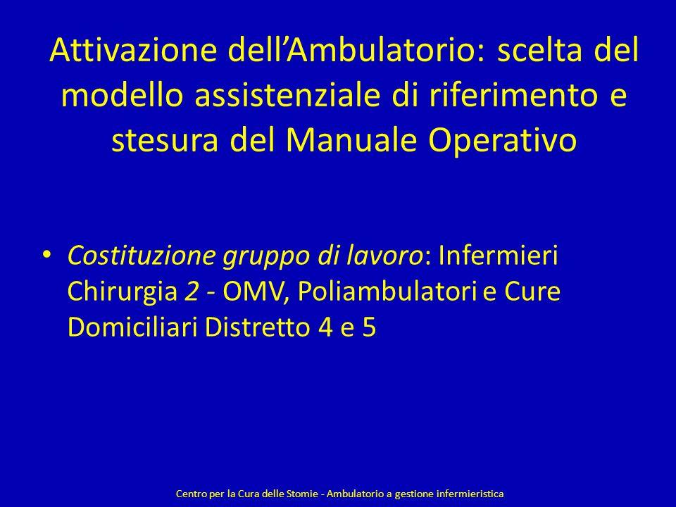 Attivazione dell'Ambulatorio: scelta del modello assistenziale di riferimento e stesura del Manuale Operativo