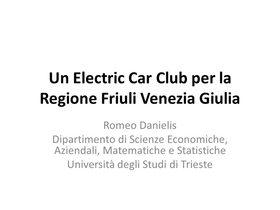 Un Electric Car Club per la Regione Friuli Venezia Giulia