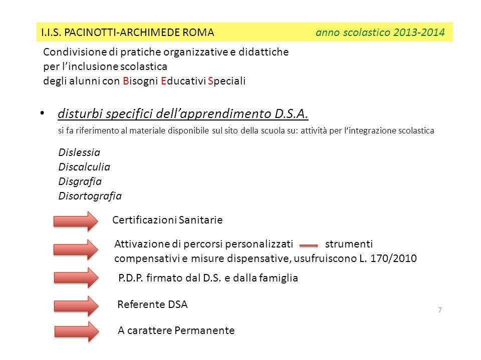 disturbi specifici dell'apprendimento D.S.A.