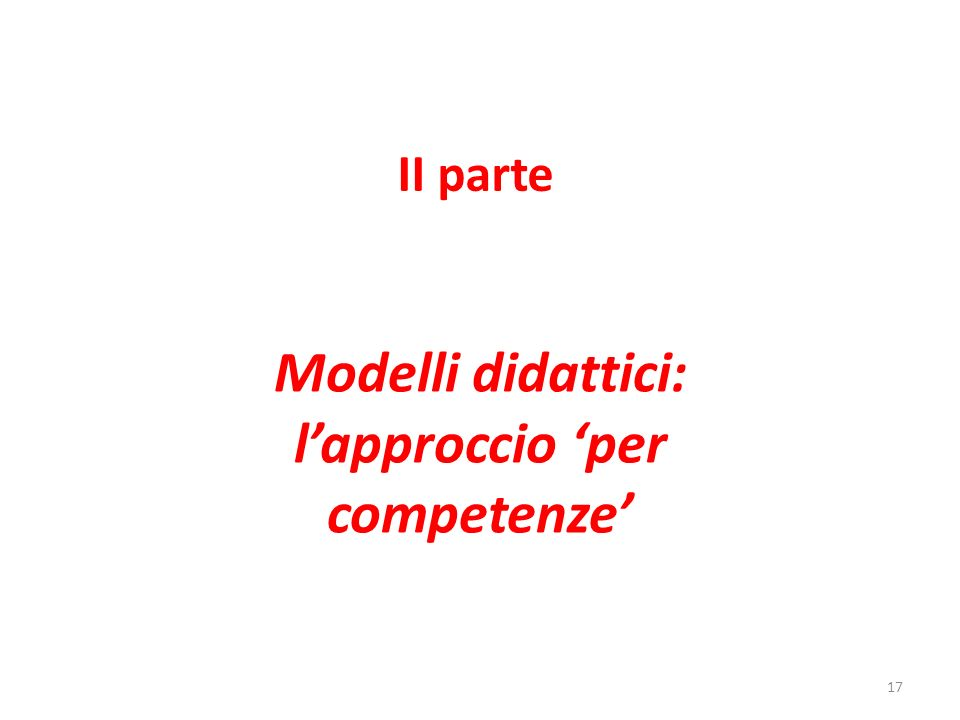 Modelli didattici: l'approccio 'per competenze'
