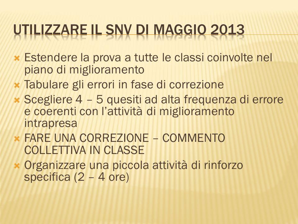 UTILIZZARE IL SNV DI MAGGIO 2013