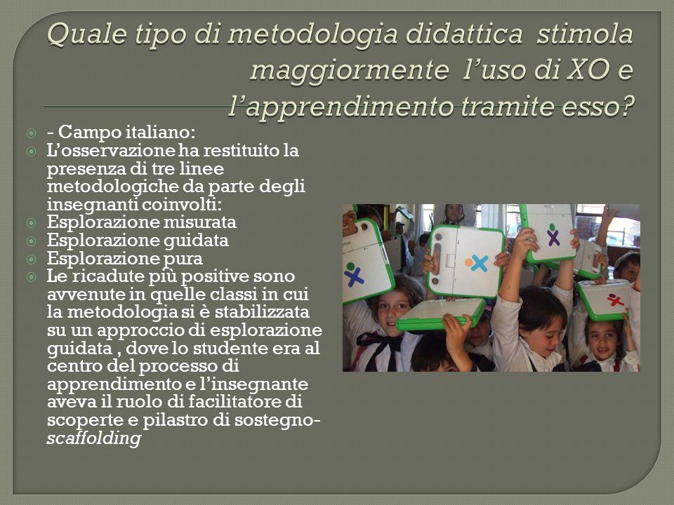 Quale tipo di metodologia didattica stimola maggiormente l'uso di XO e l'apprendimento tramite esso