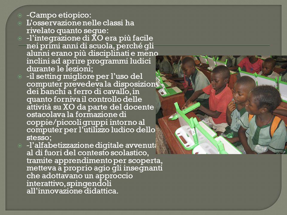 -Campo etiopico: L'osservazione nelle classi ha rivelato quanto segue: