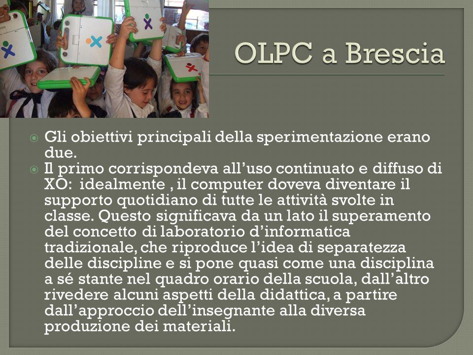 OLPC a Brescia Gli obiettivi principali della sperimentazione erano due.