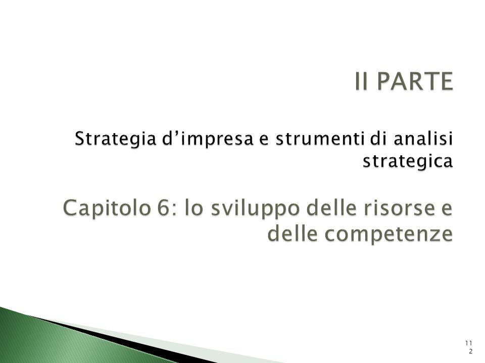 II PARTE Strategia d'impresa e strumenti di analisi strategica Capitolo 6: lo sviluppo delle risorse e delle competenze